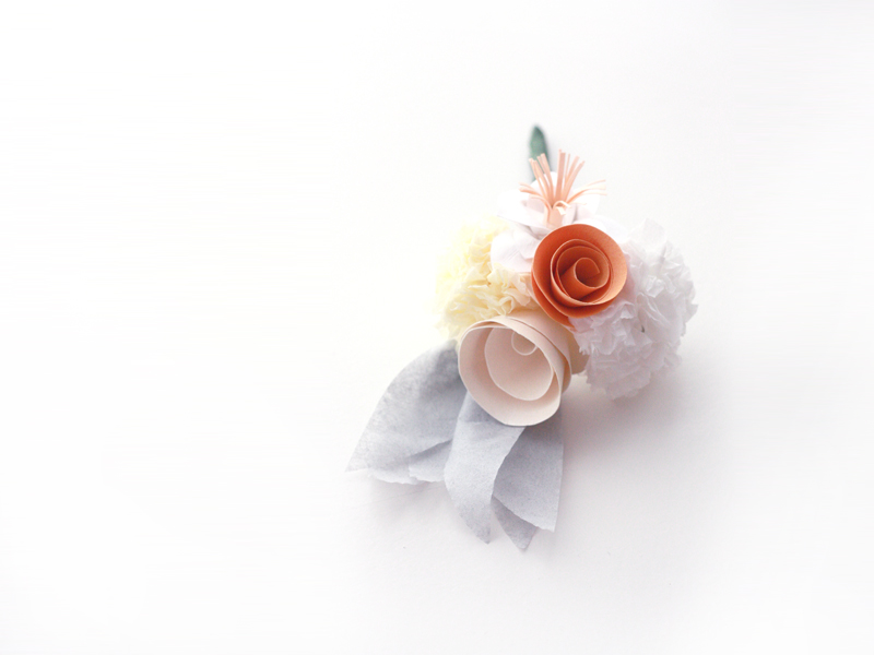 [La Fete] Paper wedding bouquet and corsages 3 www.la-fete.nl